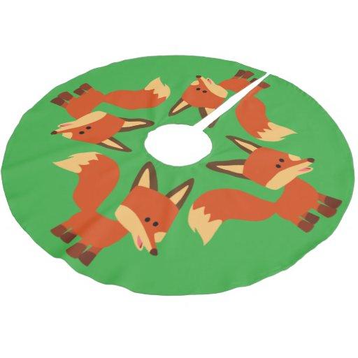 Cute astute cartoon fox tree skirt zazzle
