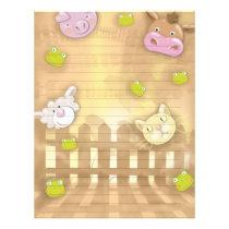 cute at the farm animals letterhead