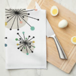 """Cute Atomic Starburst Retro Mid Century Modern Kitchen Towel<br><div class=""""desc"""">Add a pop of color to your kitchen with this cute atomic starburst kitchen towel. The design features cute starbursts of turquoise,  green,  gold,  pink,  and black. It's a great way to add a little fun to your kitchen decor!</div>"""