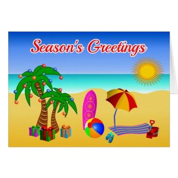 Cute Aussie Beach Scene Australian Christmas Card