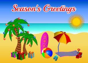 Merry aussie christmas cards zazzle cute aussie beach scene australian christmas cards m4hsunfo