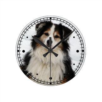 Cute Aussie Shepherd Dog in Snow Round Clocks