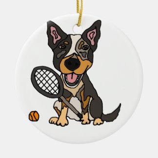 Cute Australian Cattle Dog Playing Tennis Cartoon Ceramic Ornament