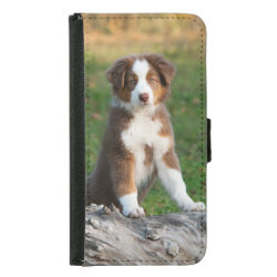 Galaxy S5 Wallet Case with Australian Shepherd Phone Cases design