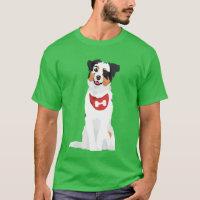 Cute Australian Shepherd Puppy with Red Bandana T-Shirt