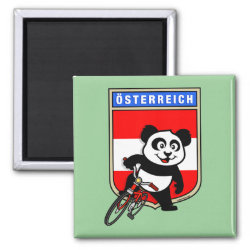 Square Magnet with Austrian Cycling Panda design
