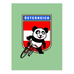 Postcard with Austrian Cycling Panda design