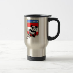 Travel / Commuter Mug with Austrian Cycling Panda design