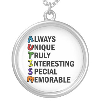 Cute Autism Awareness Acrostic Silver Plated Necklace