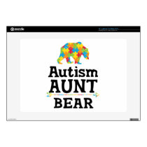 "Cute Autism Awareness Aunt Bear 15"" Laptop Decal"