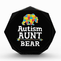 Cute Autism Awareness Aunt Bear Acrylic Award
