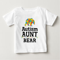 Cute Autism Awareness Aunt Bear Baby T-Shirt