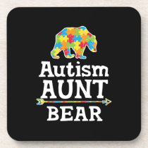 Cute Autism Awareness Aunt Bear Beverage Coaster