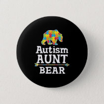 Cute Autism Awareness Aunt Bear Button