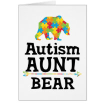 Cute Autism Awareness Aunt Bear Card