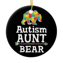 Cute Autism Awareness Aunt Bear Ceramic Ornament