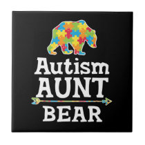 Cute Autism Awareness Aunt Bear Ceramic Tile