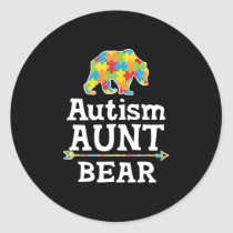 Cute Autism Awareness Aunt Bear Classic Round Sticker
