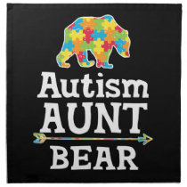 Cute Autism Awareness Aunt Bear Cloth Napkin