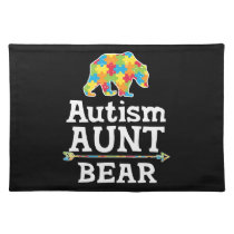 Cute Autism Awareness Aunt Bear Cloth Placemat