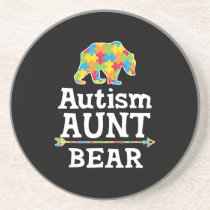 Cute Autism Awareness Aunt Bear Coaster
