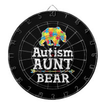 Cute Autism Awareness Aunt Bear Dart Board