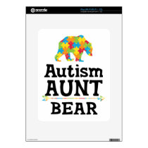 Cute Autism Awareness Aunt Bear Decal For iPad