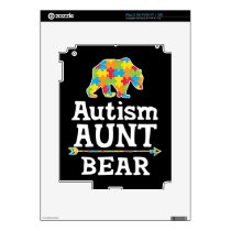 Cute Autism Awareness Aunt Bear Decal For iPad 2