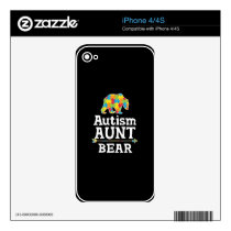 Cute Autism Awareness Aunt Bear Decal For iPhone 4