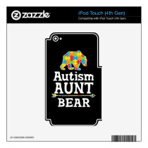 Cute Autism Awareness Aunt Bear Decal For iPod Touch 4G