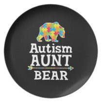 Cute Autism Awareness Aunt Bear Dinner Plate