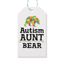 Cute Autism Awareness Aunt Bear Gift Tags