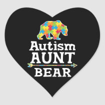 Cute Autism Awareness Aunt Bear Heart Sticker