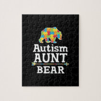 Cute Autism Awareness Aunt Bear Jigsaw Puzzle