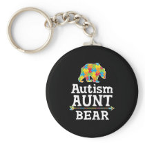 Cute Autism Awareness Aunt Bear Keychain