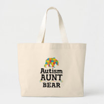 Cute Autism Awareness Aunt Bear Large Tote Bag