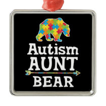 Cute Autism Awareness Aunt Bear Metal Ornament