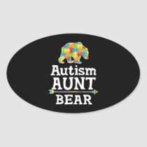 Cute Autism Awareness Aunt Bear Oval Sticker
