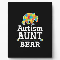 Cute Autism Awareness Aunt Bear Plaque