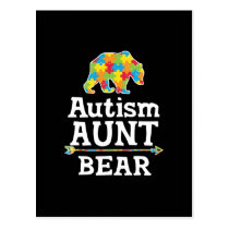 Cute Autism Awareness Aunt Bear Postcard
