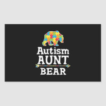 Cute Autism Awareness Aunt Bear Rectangular Sticker