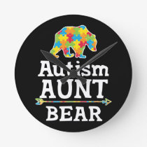 Cute Autism Awareness Aunt Bear Round Clock
