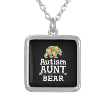 Cute Autism Awareness Aunt Bear Silver Plated Necklace
