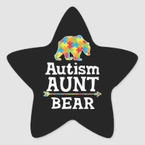Cute Autism Awareness Aunt Bear Star Sticker