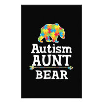 Cute Autism Awareness Aunt Bear Stationery