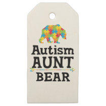 Cute Autism Awareness Aunt Bear Wooden Gift Tags