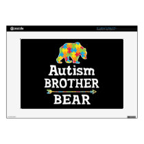"Cute Autism Awareness Brother Bear 15"" Laptop Decal"