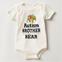 Cute Autism Awareness Brother Bear Baby Bodysuit