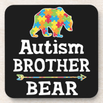 Cute Autism Awareness Brother Bear Beverage Coaster
