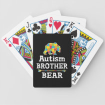 Cute Autism Awareness Brother Bear Bicycle Playing Cards